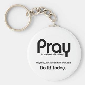 Pray Christian Basic Round Button Keychain