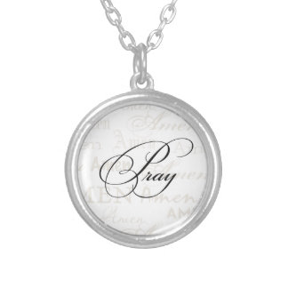Pray Christian Quote by Enchanting Quotes Round Pendant Necklace