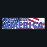 "Pray for America 2 Bumper Sticker<br><div class=""desc"">United States flag backs this call to pray for America.  Pray for the people,  for the leaders,  for the moral and spiritual life of this country.</div>"