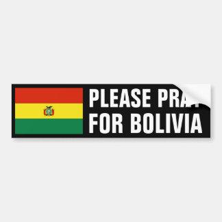Pray for Bolivia Bumper Sticker