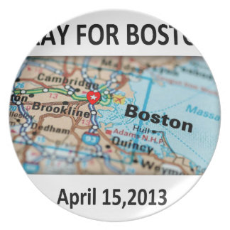 Pray For Boston Map Plate