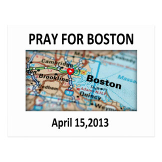 Pray For Boston Map Postcard