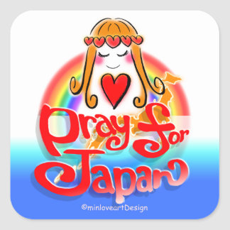 pray for JAPAN 2 sticker-2 w/Love Square Sticker