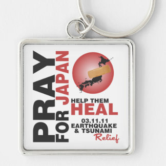 PRAY FOR JAPAN - HELP THEM HEAL Silver-Colored SQUARE KEYCHAIN
