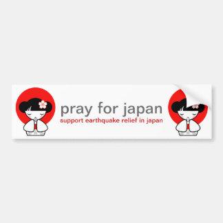 Pray for Japan Kokeshi Doll Bumper Sticker