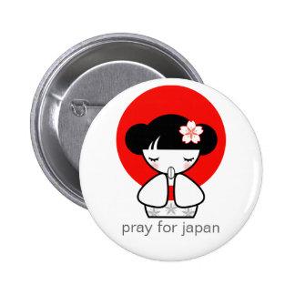 Pray for Japan Kokeshi Doll Button