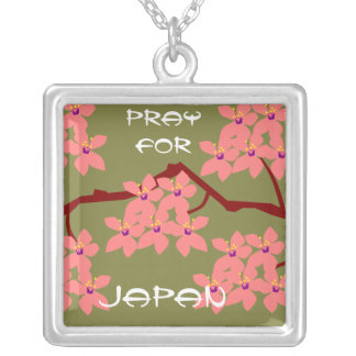 PRAY FOR JAPAN SQUARE PENDANT NECKLACE