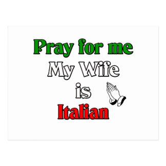 Pray for me my Wife is Italian Postcard