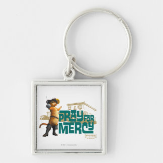 Pray for Mercy (blue) 2 Silver-Colored Square Keychain