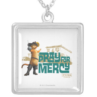 Pray for Mercy (blue) 2 Square Pendant Necklace