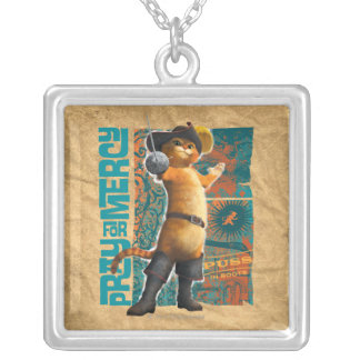 Pray for Mercy (blue) Square Pendant Necklace