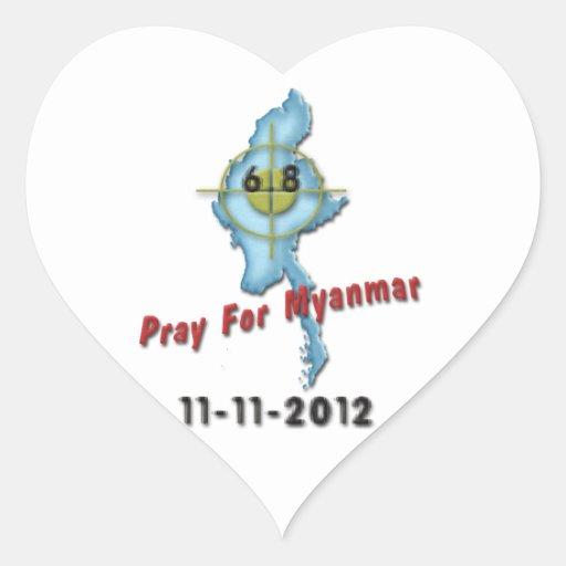Pray For Myanmar Heart Sticker