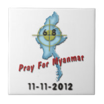Pray For Myanmar Small Square Tile