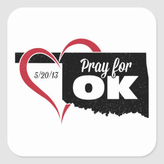 Pray for OK Square Stickers