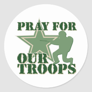 Pray for our troops classic round sticker