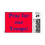 Pray for our Troops! red and blue stamp