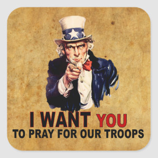 Pray For Our Troops Square Sticker