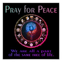 Pray for Peace Rainbow Colors Poster