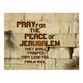 Pray for the Peace of Jerusalem, Psalm 122:6 Postcard