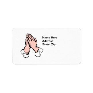 Pray Hands Cross Address Label