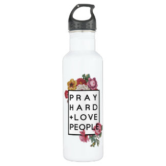 Pray Hard and Love People Sports Water Bottle