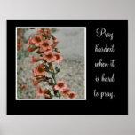 pray hard with orange flowers print