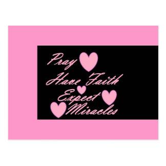 Pray Have Faith Expect Miracles Hearts Postcard