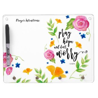 Pray Hope & Don't Worry 4 Peg Rosary Holder Dry Erase Board With Keychain Holder