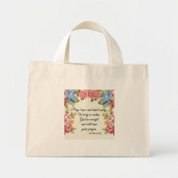 Pray, Hope & Don't Worry Saint Padre Pio Roses Mini Tote Bag