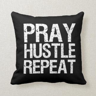 Pray Hustle Repeat Funny Pillow