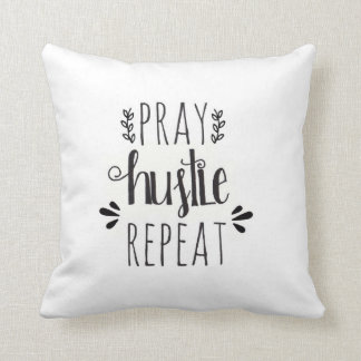 Pray Hustle Repeat Hand Lettered Pillow