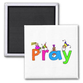 Pray Kids 2 Inch Square Magnet