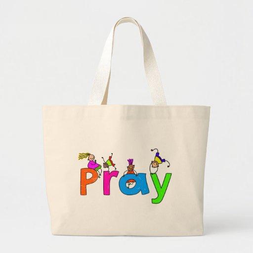 Pray Kids Large Tote Bag