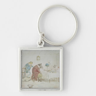 Pray, Miss Mouse, will you give us some beer' Silver-Colored Square Keychain