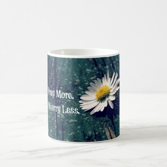 Pray More Worry Less Quote with Daisy Coffee Mug