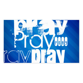 Pray; Royal Blue Stripes Double-Sided Standard Business Cards (Pack Of 100)