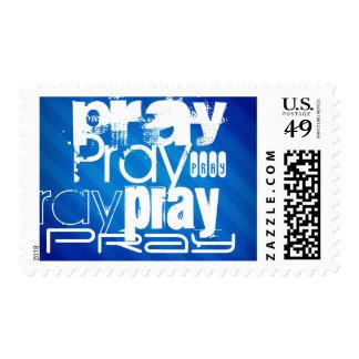 Pray; Royal Blue Stripes Postage Stamp