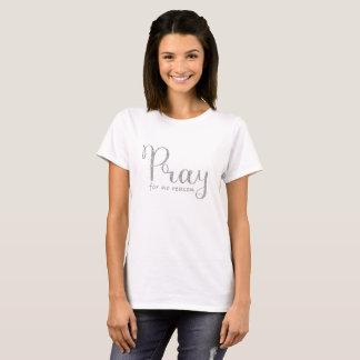 Pray Silver Glitter Gray T-Shirt