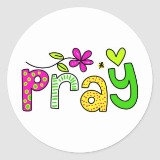 Pray Classic Round Sticker