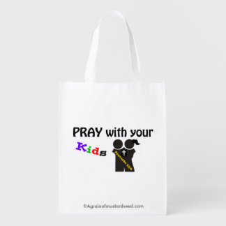 Pray with your kids reusable grocery bags