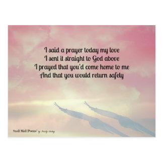 Prayer and a Poem for Your Safe Return Postcard