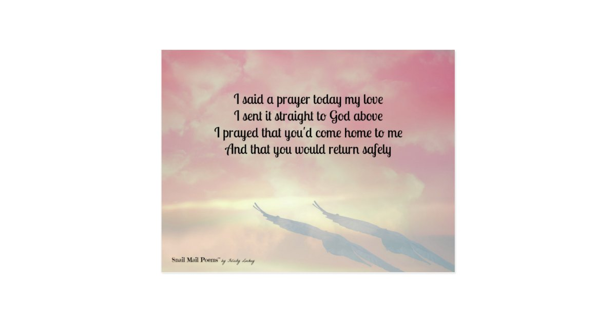 Prayer and a Poem for Your Safe Return Postcard | Zazzle