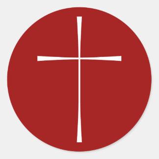 Prayer Book Cross White Round Sticker