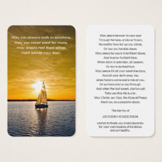 Prayer Card Funeral | Boat & Sunset