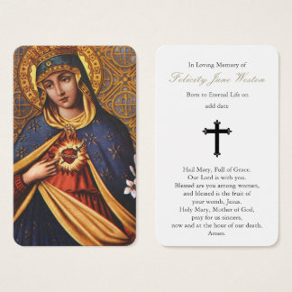 Prayer Card Funeral | Immaculate Heart of Mary