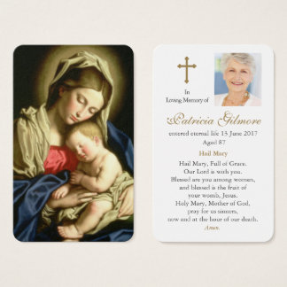 Prayer Card Funeral | Madonna and Child