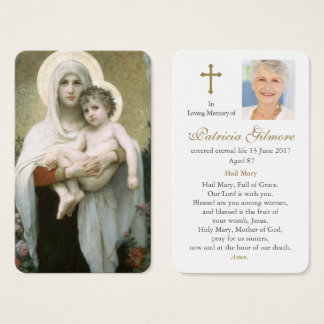 Prayer Card Funeral | Madonna of the Roses