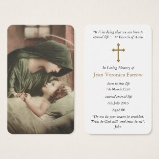Prayer Card Funeral | Mother Mary