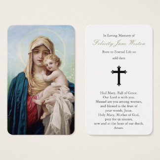 Prayer Card Funeral | Mother Mary & Baby Jesus