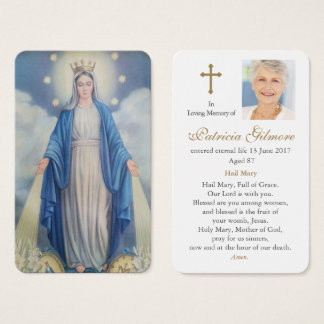Prayer Card Funeral | Our Lady Miraculous Medal